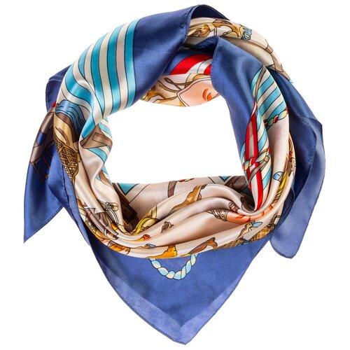 Шелковый платок на шею/Платок шелковый на голову/женский/Шейный шелковый платок/стильный/модный /21kdg9095495-2vr синий,белый/Vittorio Richi/80% шелк,20% полиэстер/90x90
