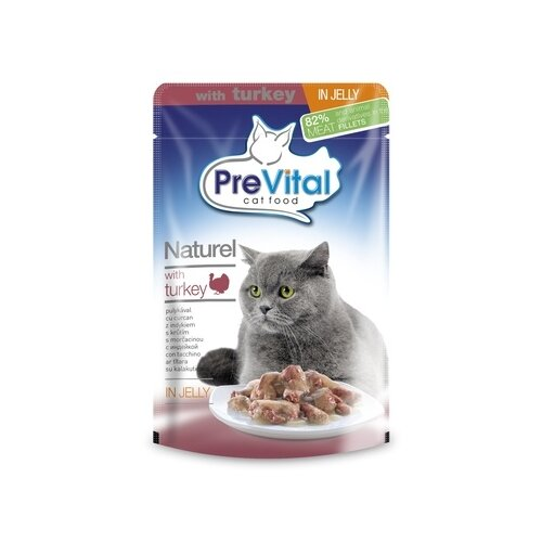 Влажный корм для кошек PreVital с индейкой 2 шт. х 85 г (кусочки в желе) влажный корм для кошек prevital с индейкой 28 шт х 85 г кусочки в желе