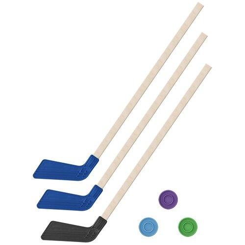 Детский хоккейный набор зима,лето 3 в 1/ Клюшки хоккейных 80 см. (2 синих, 1 черная) + 3 шайбы, Задира Плюс