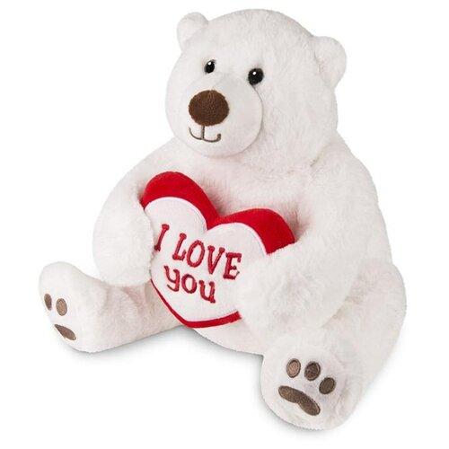 Мягкая игрушка Maxitoys Белый Медведь с Сердцем, 30 см игрушка мягкая maxitoys калифорнийский кролик 30 см