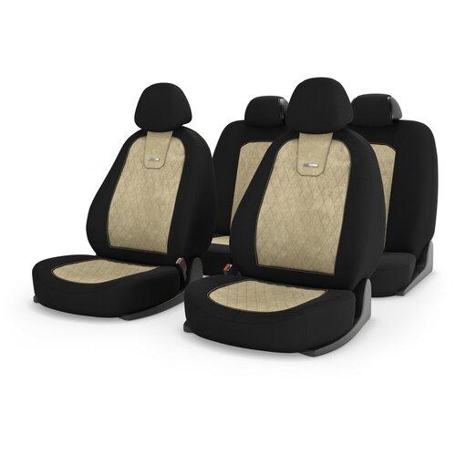 Универсальные чехлы на автомобильные сиденья CarFashion COLOMBO бежевый/черный/бежевый