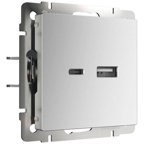 Розетка USB Werkel тип A+С серебряный W1171806 4690389171383