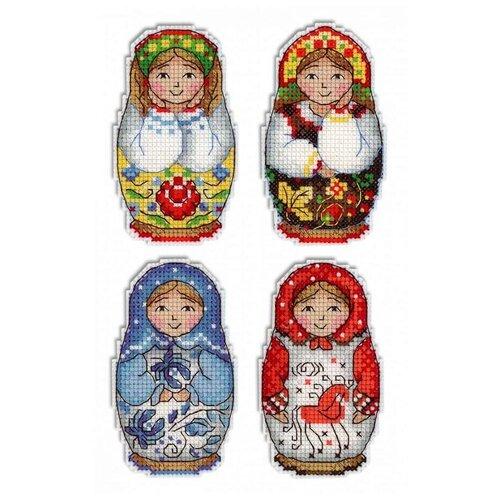 Жар-птица Набор для вышивания Русские матрешки Магниты 5 х 9 см (Р-337)