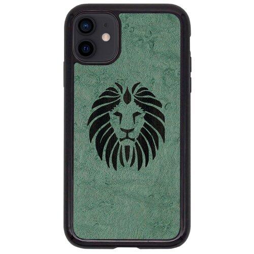 Чехол Timber&Cases для Apple iPhone 11 TPU WILD collection - Царь зверей/Лев (Клен птичий глаз - Эвкалипт)
