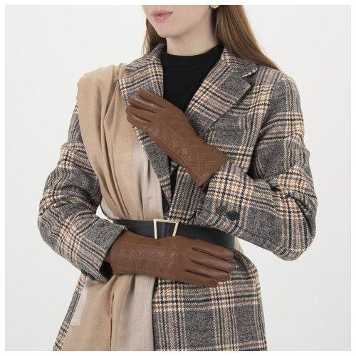 Перчатки жен, р-р8, 24*1*8см, клетка/ромбы, подклад иск мех, коричневый 1906246