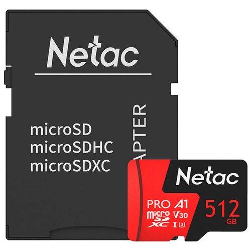 Фото - Карта памяти Netac P500 Extreme Pro 512 GB, чтение: 100 MB/s, адаптер на SD карта памяти netac p500 extreme pro 128 gb чтение 100 mb s
