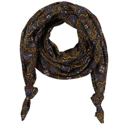 Шарф женский весенний, шерсть, вискоза, разноцветный, двойной шарф-долька Оланж Ассорти серия Норд с узелками