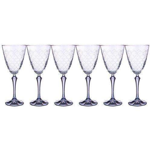Набор бокалов для вина elisabeth blue smoke из 6 шт 350 мл Bohemia Crystal (674-743)