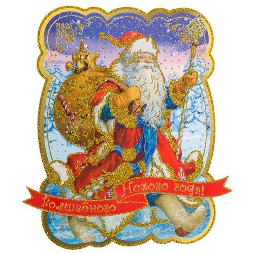 Фото - Наклейка Феникс Present Дед мороз с мешком подарков 35 x 39 см, золотистый/синий наклейка феникс present морозный узор 54 x 21 см