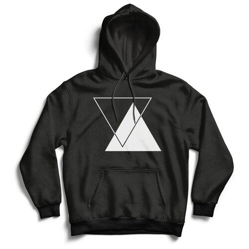 Толстовка ЕстьНюанс с принтом «Треугольники» черная, размер 3XL