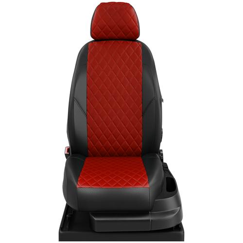 Авточехлы для Hyundai Accent 3 с 2006-2012г. седан Задняя спинка 40 на 60, сиденье единое, 4-подголовника (Хендай Акцент). ЭК-06 красный/чёрный ромб: Красный