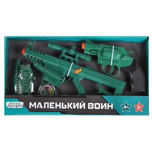 Игрушечное оружие детское ТМ КОМПАНИЯ ДРУЗЕЙ, Серия Маленький воин, Набор Полиция со звуком, на батарейках, игровой набор, игрушечный автомат, игрушечный пистолет, игрушечная рация, набор для игры в полицейского, для детей, для мальчиков, зеленый, в/к 38*4,5*20,5 см