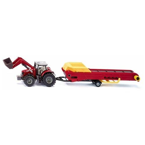 трактор siku с прицепом кузовом 1858 1 87 22 6 см желтый Трактор Siku Massey Ferguson с конвейером (1996) 1:50, красный/желтый