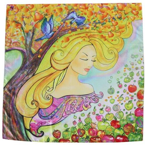 Платок женский шелковый, голубой, жёлтый, зелёный, платок с авторским арт-принтом Оланж Ассорти