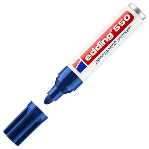 Фото - Маркер перманентный EDDING 550/3 синий 3-4 мм круглый наконечник маркер перманентный edding зеленый 3 4 мм круглый наконечник