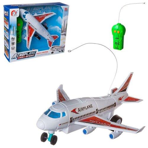 Купить Самолет пассажирский, с двух канальным пультом управления, со световыми эффектами, 2 вида, в коробке, 22, 5х18, 5х9, 5см, ABtoys, Машинки и техника