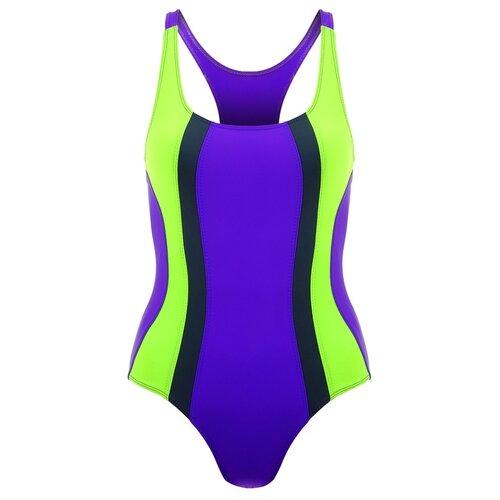 Купальник для плавания сплошной (1435/33/26) ярко фиолетовый/неон зеленый/т.серый р.40 4609236
