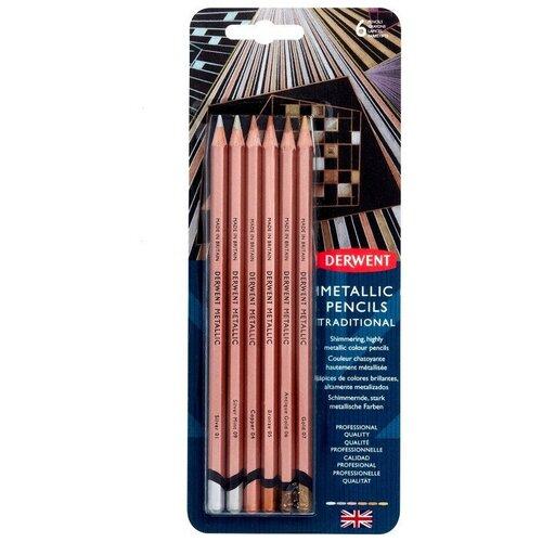 Купить Карандаши цветные Derwent Metallic 6цв в блистере, 2305600, Цветные карандаши