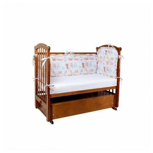 Ангелочки Бортик для кроватки высокий раздельный голубой ангелочки влюблены
