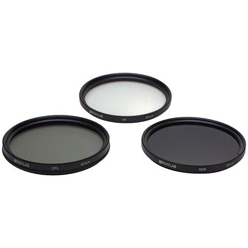 Фото - Набор из 3 фильтров RayLab (UV,CPL,ND8) 62mm фильтр поляризационный raylab cpl 82mm