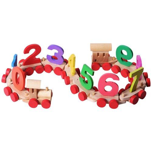 Развивающая игрушка PAREMO Деревянный паровозик с цифрами в пакете, бежевый
