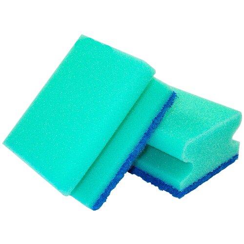 губка aqualine для мытья автомобиля Губка для мытья посуды aQualine 2 шт., зеленый/синий