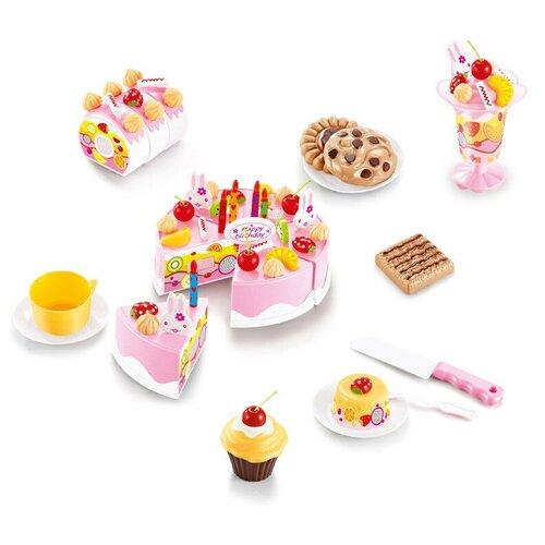 Фото - Набор продуктов с посудой ABtoys Помогаю маме PT-01229 белый/розовый/коричневый кухня abtoys помогаю маме pt 00791 розовый белый серый