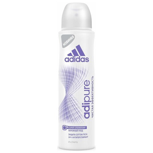 Adidas дезодорант-антиперспирант, спрей, Adipure, 150 мл дезодорант антиперспирант спрей adidas 6 в 1 150 мл