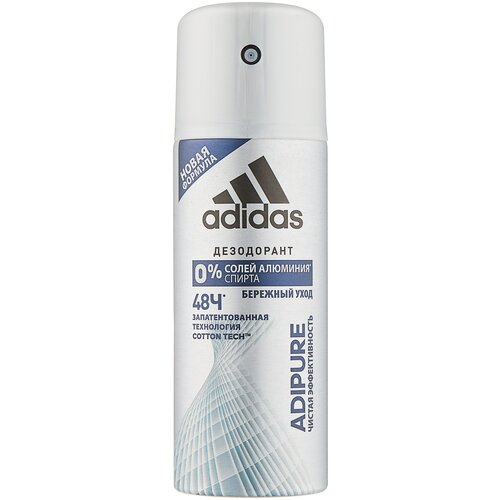 Дезодорант-антиперспирант спрей Adidas Adipure, 150 мл дезодорант антиперспирант спрей adidas 6 в 1 150 мл