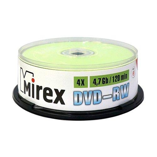 Фото - Диск DVD-RW Mirex 4.7Gb 4x 25 шт. cake box оптический диск cd rw mirex 700mb 4 12x cake box 10шт ul121002a8l