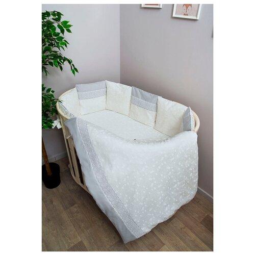 Купить Сонный Гномик комплект Тридцать три короны с бортиками-подушками (6 предметов) молочный, Постельное белье и комплекты