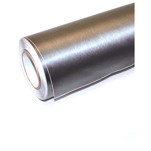 Пленка виниловая для оклейки кузова авто, матовый шлифованный алюминий - 10*1,52 м, цвет: серый
