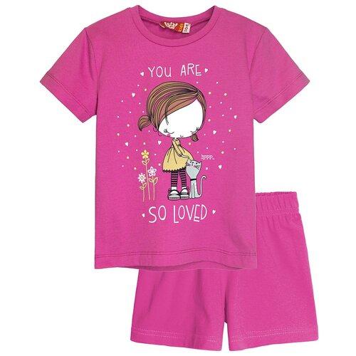Купить 91143 Комплект (футболка-шорты) для девочки розовый, размер 104-56_Let's Go, Комплекты и форма
