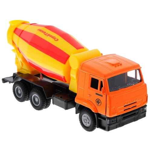 Фото - Бетономешалка ТЕХНОПАРК КамАЗ (SB-16-24WB), 12 см, оранжевый/желтый/красный автобус технопарк рейсовый sb 16 88 blc 7 5 см желтый