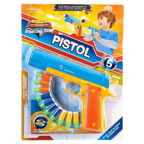 Фото - Оружие пласт. пистолет, стреляет пульками,CRD 32х24х4 см, арт.447-15. игрушечное оружие bondibon оружие с мягкими пульками револьвер 2 в 1