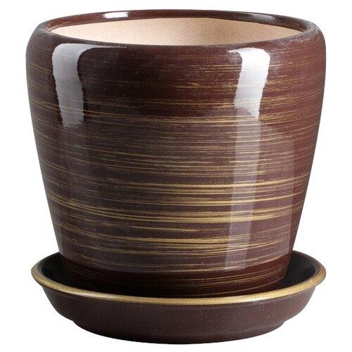 Горшок Ориана с поддоном Грация Глянец 16 х 16 см шоколад-золото по цене 698