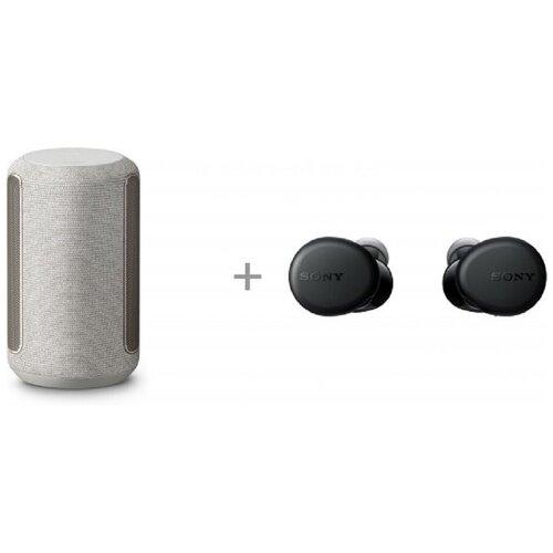 Беспроводной динамик Sony SRS-RA3000, светло-серый, и Bluetooth-гарнитура Sony WF-XB700, черный