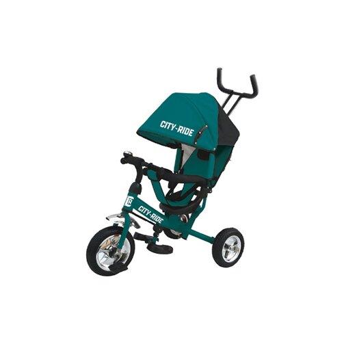 Купить Велосипед детский трехколесный City-Ride, колеса пластик 10/8, поворотное сиденье, велосипед для детей, для малышей, с родительской ручкой, бампер, багажник, цвет бирюзовый, Трехколесные велосипеды