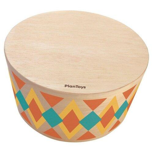 Купить PlanToys барабан Круглый ритм-бокс 6423 оранжевый/желтый/голубой, Детские музыкальные инструменты