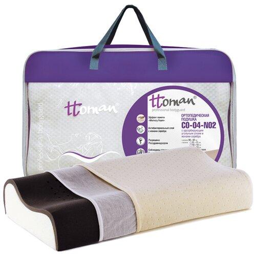 Подушка ортопедическая Ttoman CO-04-NO.2 (14/12) с карбоновым слоем и ионами серебра, высокая 56 x 32 см