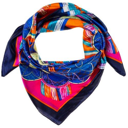 Шелковый платок на шею/Платок шелковый на голову/женский/Шейный шелковый платок/стильный/модный /21kdgPL903002-1vr синий, оранжевый/Vittorio Richi/80% шелк,20% полиэстер/90x90