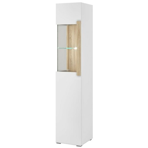 Фото - Шкаф-витрина для посуды Принцесса Мелания Куба 1717 (правая), (ШхГхВ): 44.8х39.5х199.5 см, дуб сонома/белый глянец витрина шкаф витрина 4 х дверная куба куба