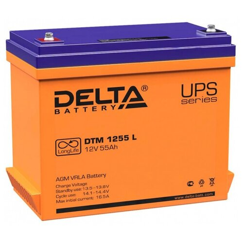 Аккумуляторная батарея DELTA Battery DTM 1255 L 55 А·ч аккумуляторная батарея delta battery dtm 1233 i 33 а·ч