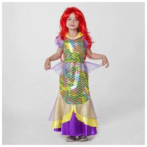 Купить Карнавальный костюм Страна Карнавалия Русалка , платье, пояс, парик, р. 32, рост 122-128 см (3640664), Карнавальные костюмы