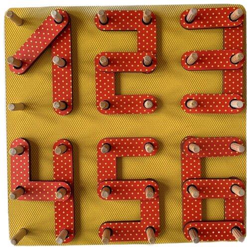 Развивающая игрушка PAREMO Геоборд Цифры, желтый/красный