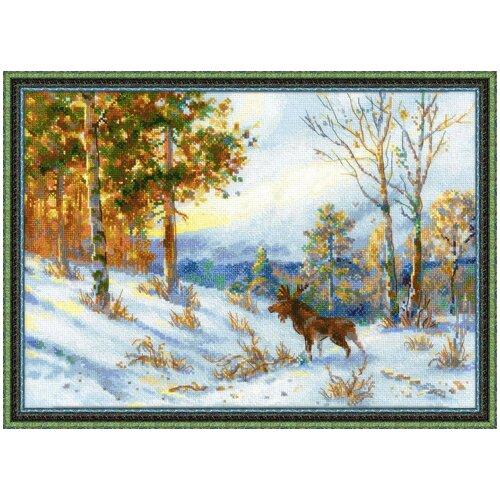 Купить Риолис Набор для вышивания 1528 Лось в зимнем лесу по мотивам картины В.Л.Муравьева, Наборы для вышивания