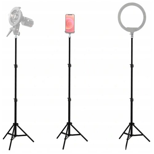 Штатив для кольцевых ламп и смартфонов для съемки фото и видео / Универсальная подставка для телефона или камеры / Трипод для ламп и Apple iPhone фотокамеры и видеокамеры, черный