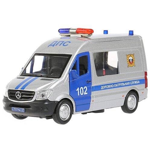 Фургон ТЕХНОПАРК Mercedes-Benz Sprinter Полиция, 14 см, серебристый микроавтобус технопарк mercedes benz sprinter реанимация sprinter 22pl rean 22 см желтый