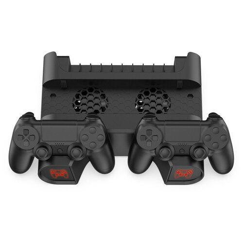 Многофункциональная охлаждающая подставка (док-станция) DOBE для игровой приставки SONY PlayStation 4 PS4 / PS4 Slim / PS4 Pro с зарядкой для геймпадов DualShock 4