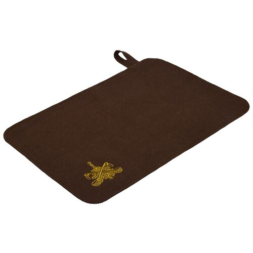 Коврик для бани и сауны Банные штучки, войлок, коричневый с вышитым логотипом коврик для сауны банные штучки 41002